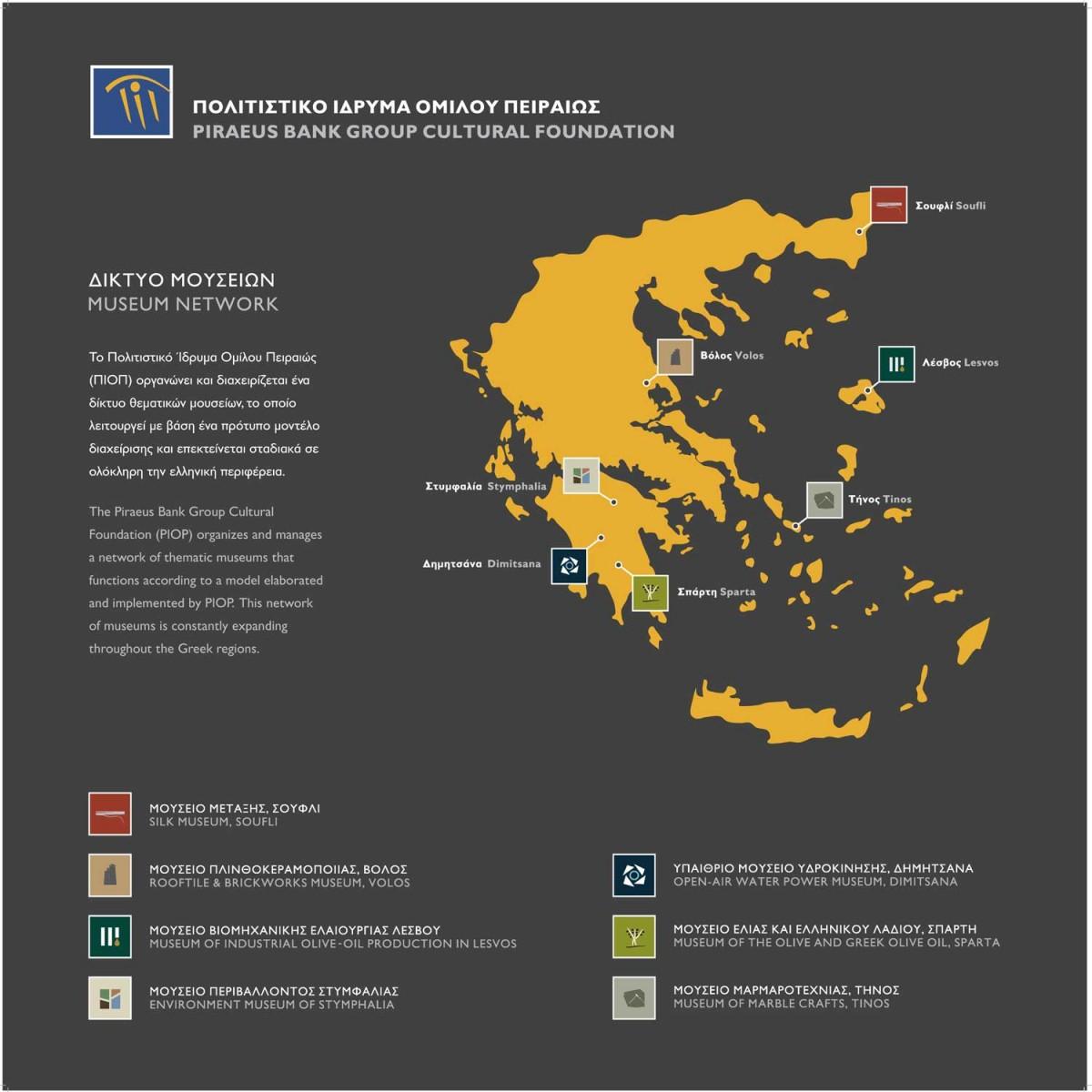 Χάρτης δικτύου μουσείων ΠΙΟΠ.