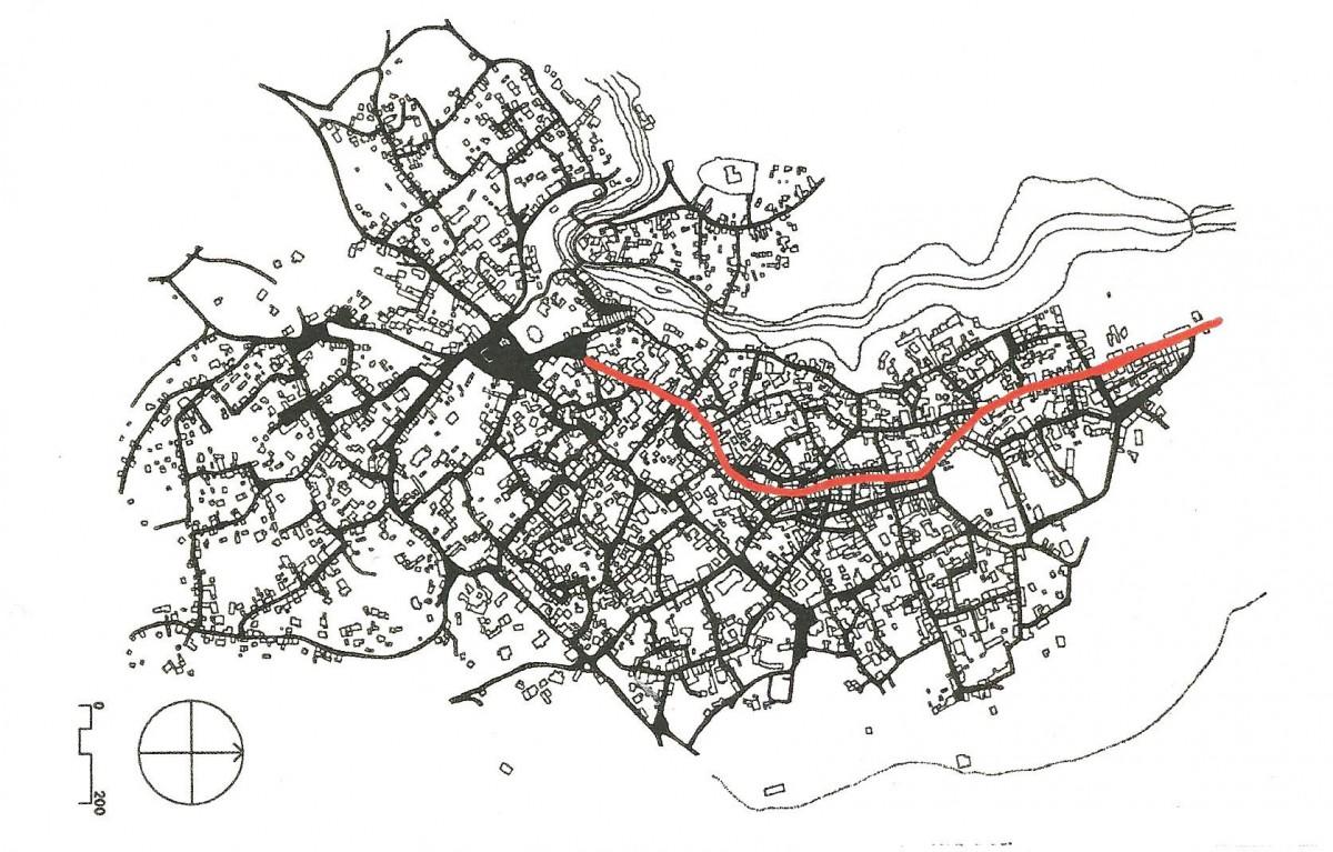 Χάρτης Ι: Η πολεοδομική πραγματικότητα της Βέροιας στα 1920 (πηγή: IUAV, AUT). Με κόκκινο σημειώνεται η οδός Κεντρικής.