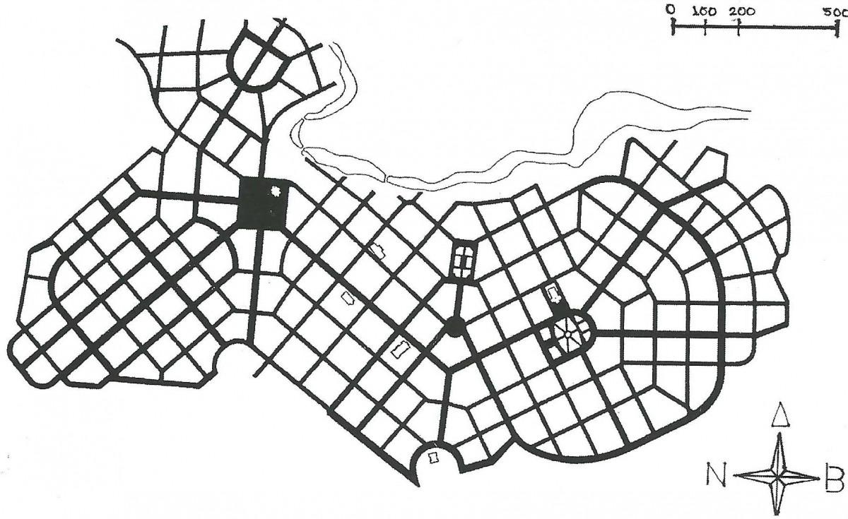 Χάρτης ΙΙ: Το ρυμοτομικό σχέδιο της Βέροιας, του 1925, των Ν. Έρτσου-Σ. Μακρυδήμα (πηγή: IUAV, AUT).