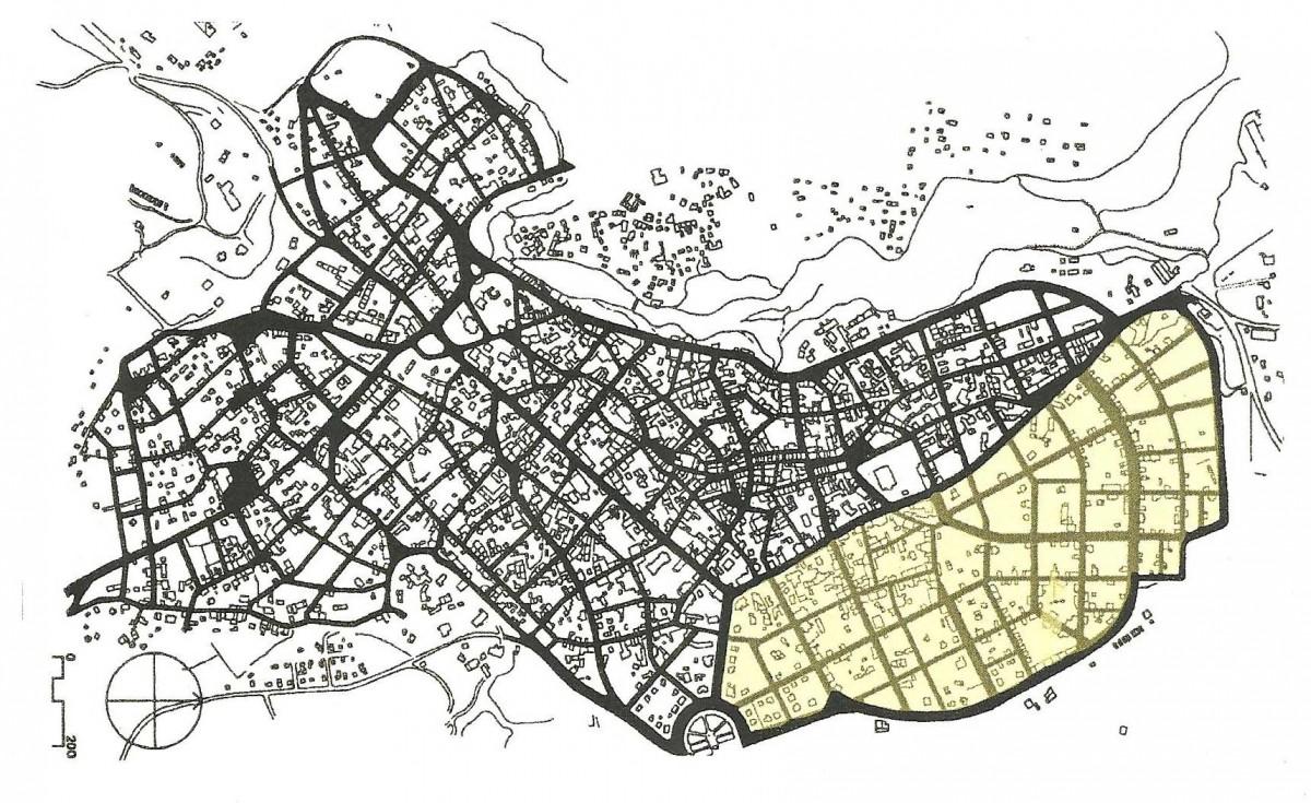 Χάρτης ΙΙΙ: Το ρυμοτομικό σχέδιο της Βέροιας, του 1936 (πηγή: IUAV, AUT). Με σκίαση σημειώνεται το τμήμα του σχεδίου Έρτσου-Μακρυδήμα που εφαρμόστηκε με μικρές διορθώσεις.