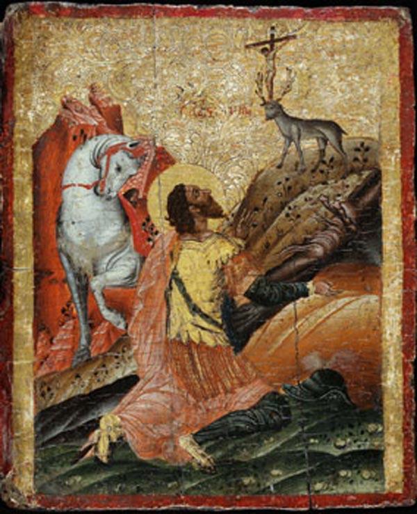 Ο Άγιος Ευστάθιος, εικόνα της Κρητικής Σχολής, 17ος αι.