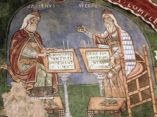 Γαληνός και Ιπποκράτης. Τοιχογραφία 12ου αιώνα. Anagni, Ιταλία.