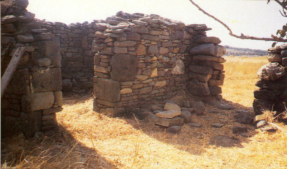 Εικ. 12. Άποψη του μαντριού πάνω στο Κουκονήσι, χτισμένου με οικοδομικό υλικό από τον προϊστορικό οικισμό.