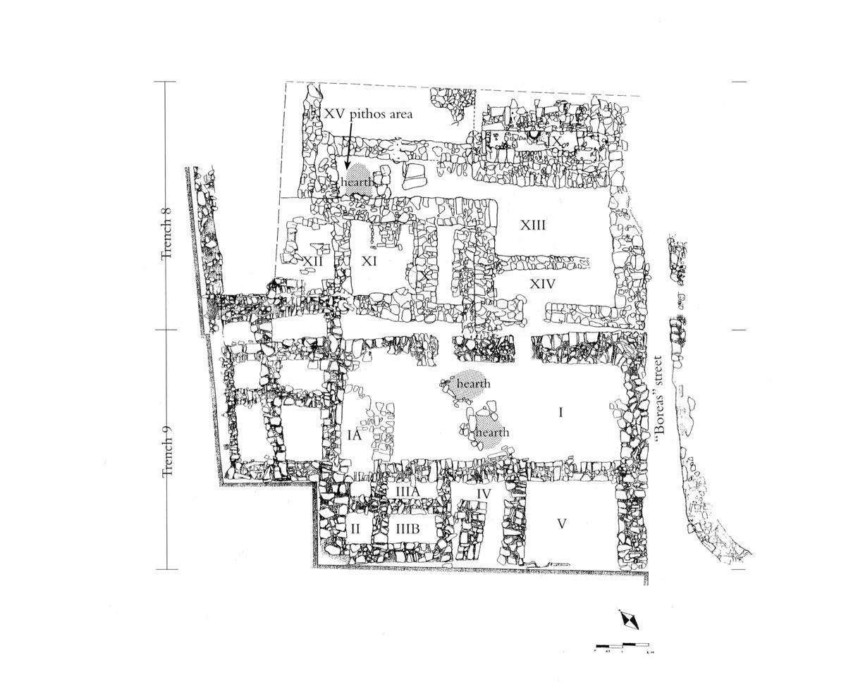 Εικ. 23. Κάτοψη της «μινωίζουσας γειτονιάς» του οικισμού (Τομές 8 και 9).