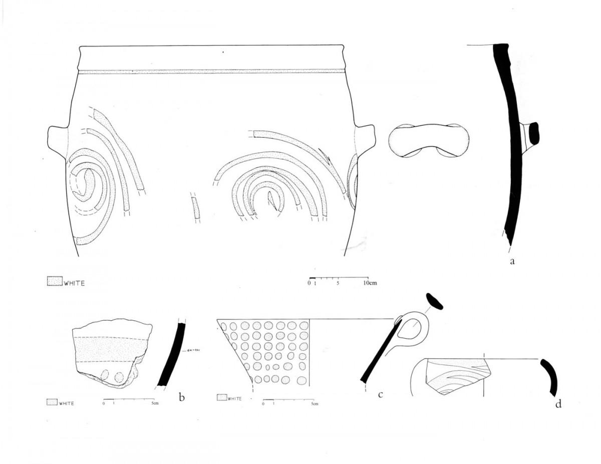 Εικ. 42. Γραπτή μινωική κεραμική διακοσμημένη με λευκή βαφή (Τομή 9).