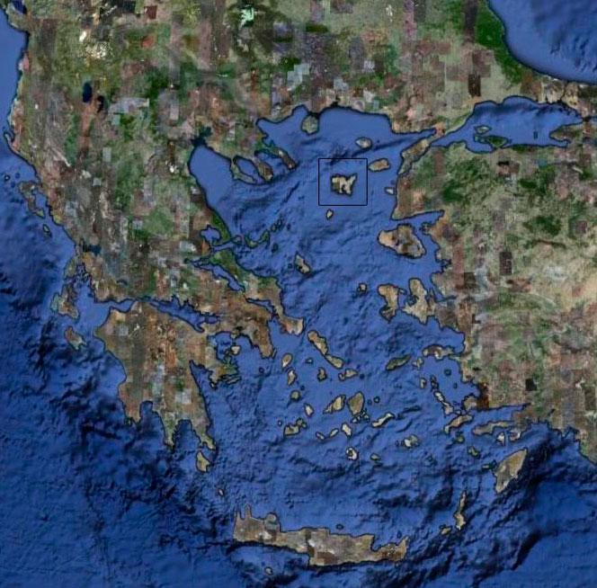 Εικ. 7. Γεωφυσικός χάρτης του Αιγαίου. Η Λήμνος σε ορθογώνιο πλαίσιο.
