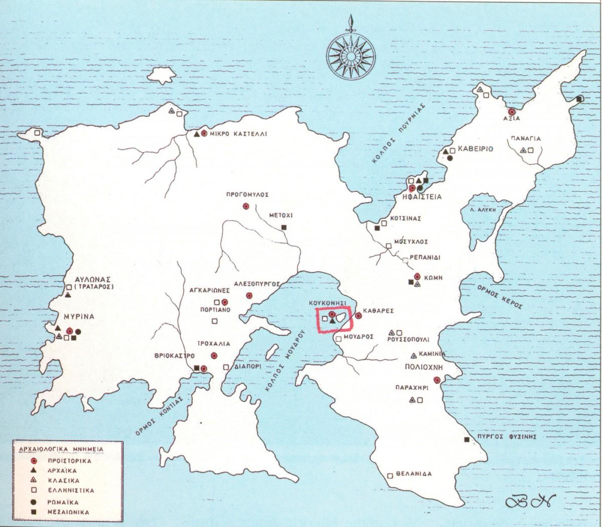 Εικ. 8. Χάρτης της Λήμνου με δήλωση των αρχαιολογικών θέσεων του νησιού. Το Κουκονήσι σε κόκκινο πλαίσιο.