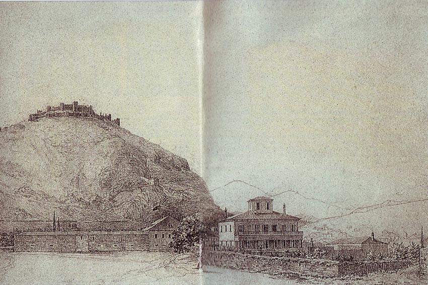 Σχέδιο του Στάντεμαν (1835), το οποίο παρουσιάζει με έξοχα ανάγλυφο τρόπο το κτίριο Καλλέργη.
