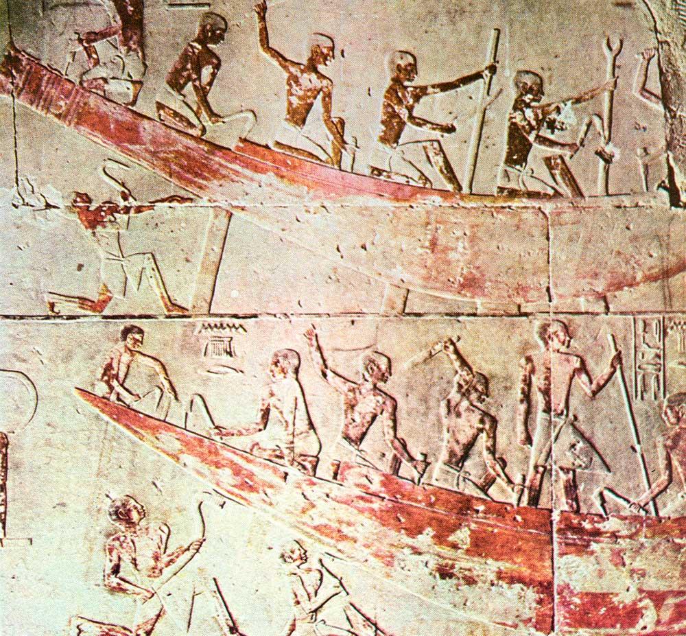 Εικ. 1. Παράσταση σε χαμηλό ανάγλυφο από τον τάφο Τí της 5ης Δυναστείας (2475-2345 π.Χ.) στη νεκρόπολη της Σακάρας, όπου διασώζονται σκηνές ναυπηγήσεως πλοίου (Steindorf 1913, πίν. 119).