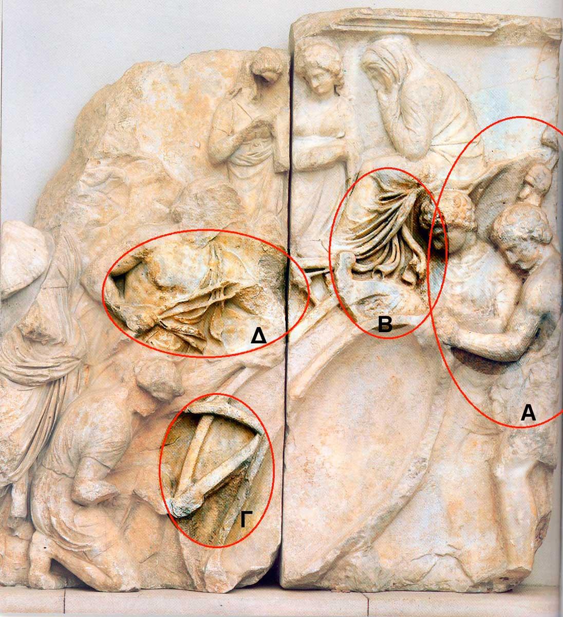 Εικ. 3. Απεικόνιση κατασκευής της βάρκας της Αυγής στη ζωφόρο του Τηλέφου από τον βωμό της Περγάμου (Pollit 1986, σ. 203, εικ. 216).