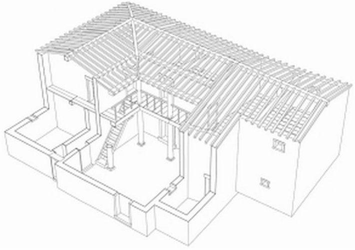 Σχεδιαστική αναπαράσταση σπιτιού από την Καλαυρεία του Πόρου.
