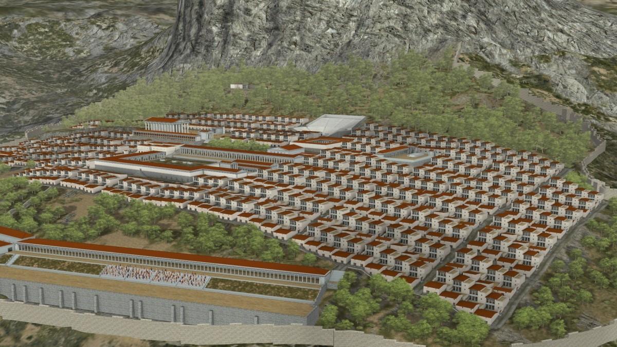 Σκηνή από την παραγωγή «Ταξίδι στην Αρχαία Πριήνη» που προβάλλεται στη «Θόλο» του Κέντρου Πολιτισμού «Ελληνικός Κόσμος».