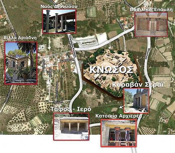 Χάρτης προβλεπόμενης ενοποίησης των αρχαιολογικών χώρων γύρω από το Ανάκτορο της Κνωσού.