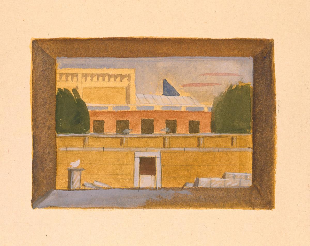 Ζωγραφική απεικόνιση του Μουσείου Βυζαντινού Πολιτισμού Θεσσαλονίκης από τον Κυριάκο Κρόκο.