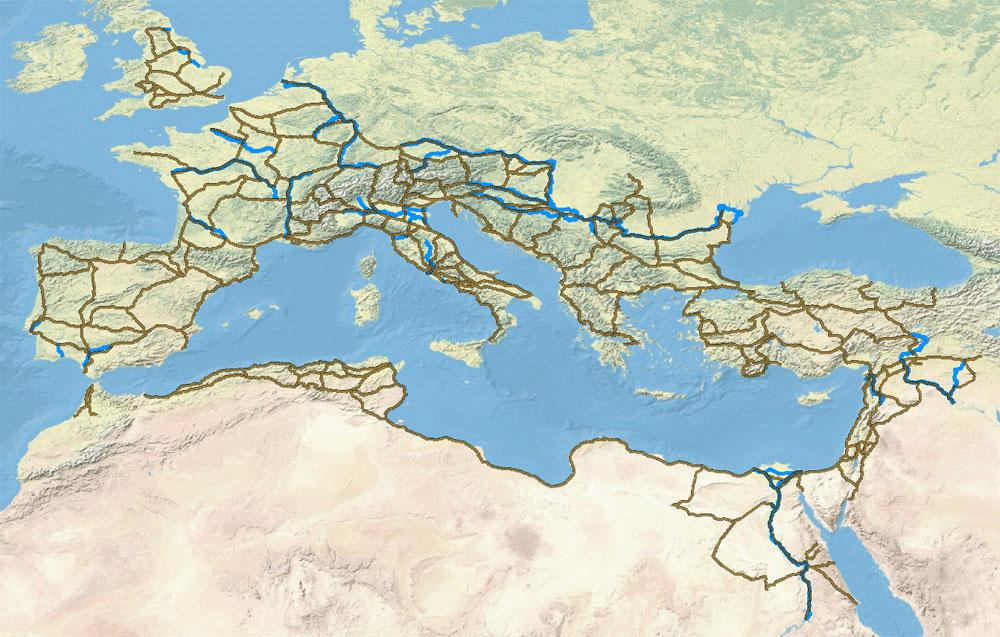 Διαδρομές της Ρωμαϊκής Αυτοκρατορίας στο πρόγραμμα ORBIS.