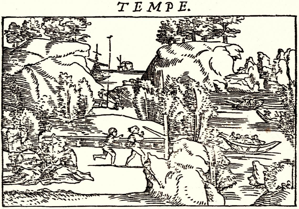 Εικ. 1. Χαρακτικό που απεικονίζει τα Τέμπη. N. Gerbelius, 1545.
