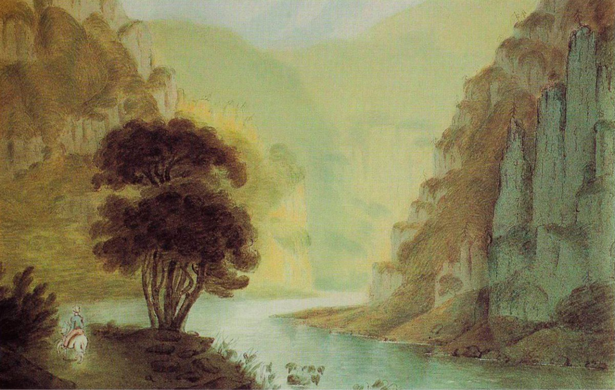 Εικ. 4. Τέμπη. Yδατογραφία, William Gell, 1801.