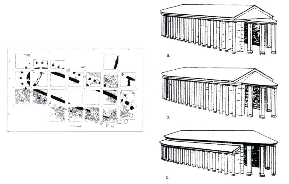 Εικ. 2. Κάτοψη και πιθανές αναπαραστάσεις του ναού της Ρακίτας.