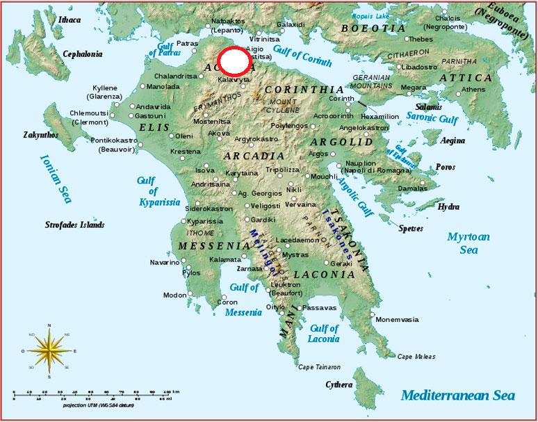 Εικ. 9. Η περιοχή των αρχαϊκών ναών της Αιγιάλειας.