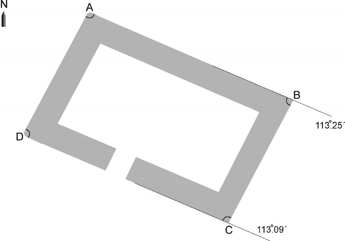 Εικ. 5. Διάγραμμα του Δρακόσπιτου της Όχης και ο προσανατολισμός του.