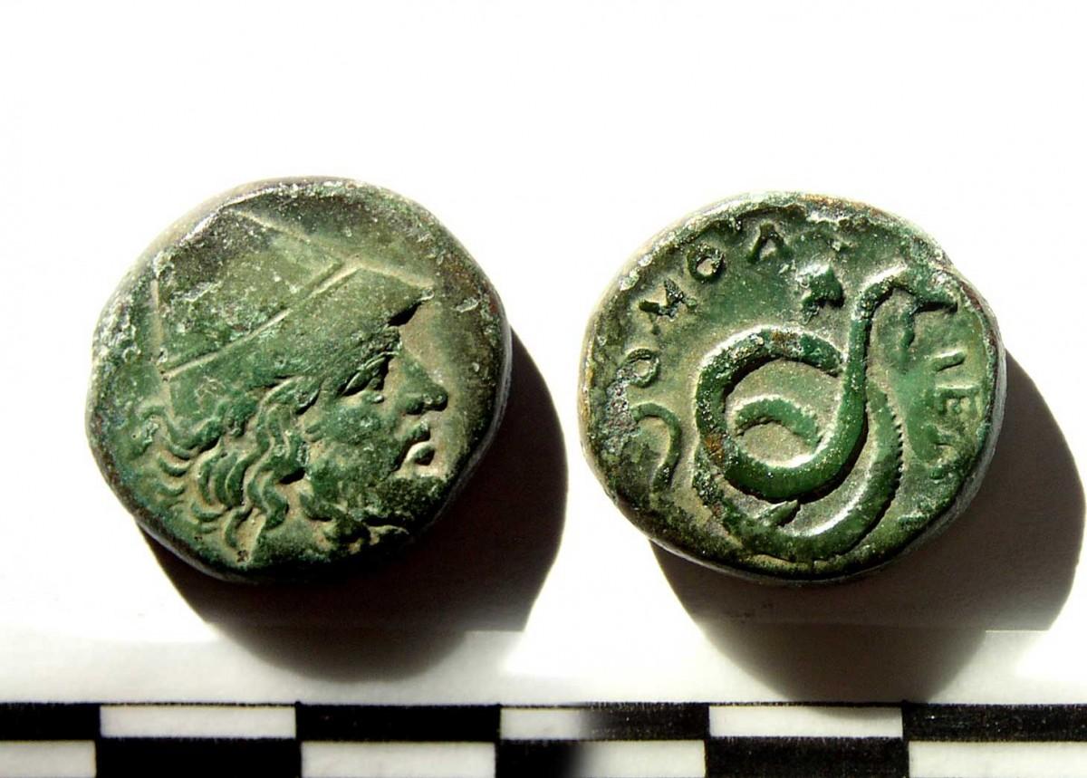Εικ. 3. Χάλκινο νόμισμα Ομολίου. Μουσείο Βόλου, αρ. ευρ. Ν160.