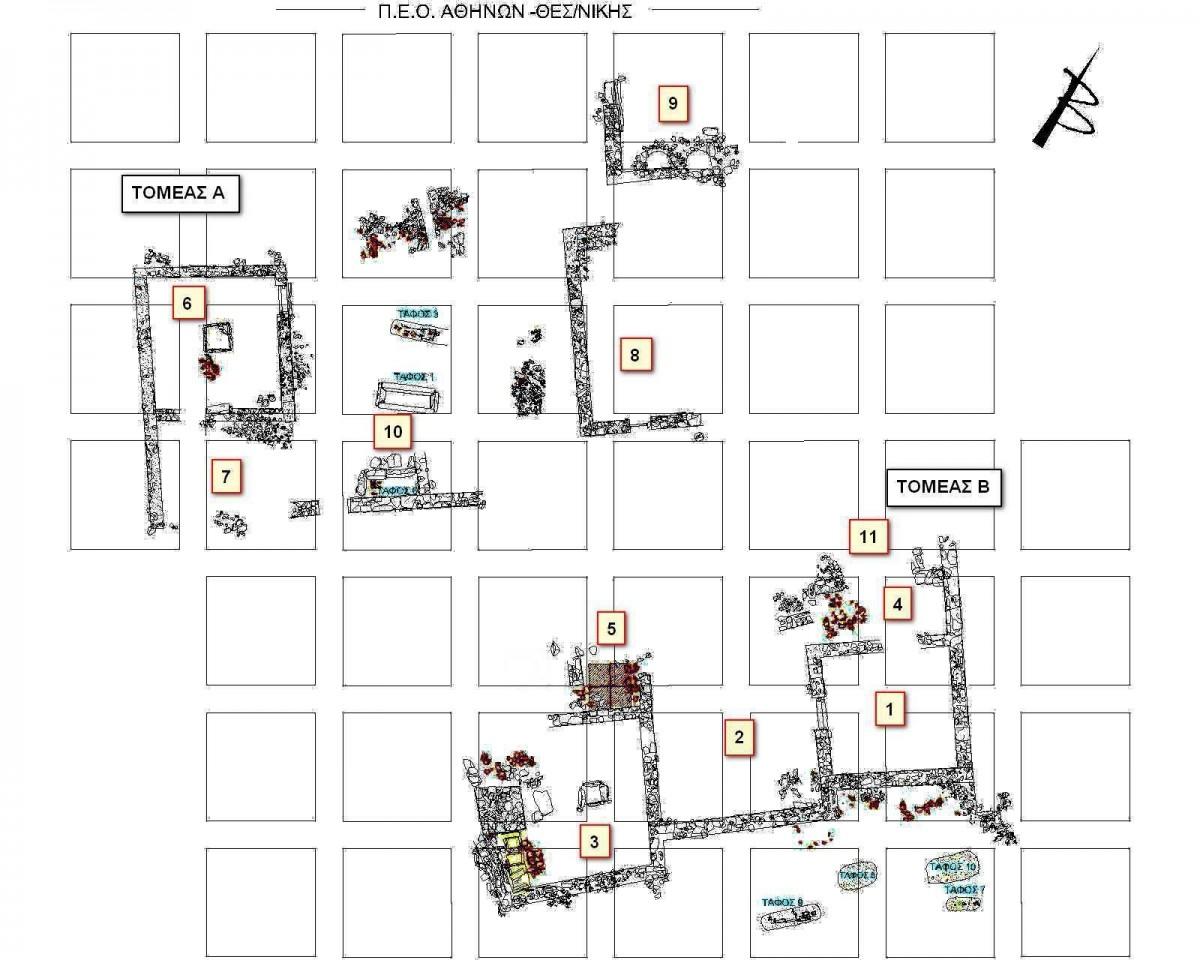 Εικ. 1. Κάτοψη οικοδομικού συγκροτήματος στη θέση «Χάνι Κοκόνας».