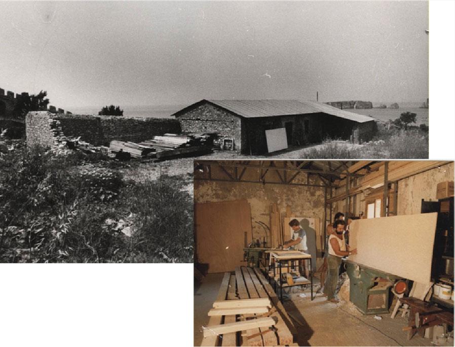 """Εικ. 27β.  Το ξυλουργείο στο λεγόμενο """"κτήριο του Πασά"""" πριν και μετά τα έργα."""