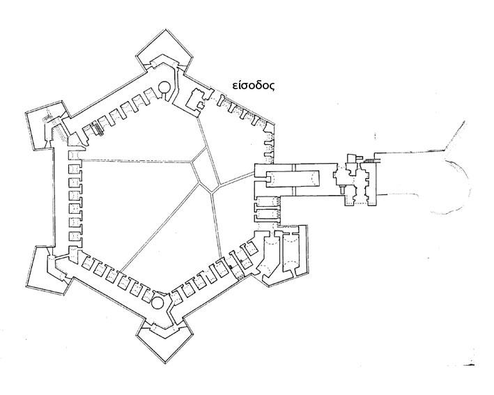 Εικ 6. Η ακρόπολη του φρουρίου με τους πέντε προμαχώνες, τους στεγασμένους από τις αψίδες χώρους και  σχεδιασμένους τους τοίχους των ακτίνων που αφαιρέθηκαν.