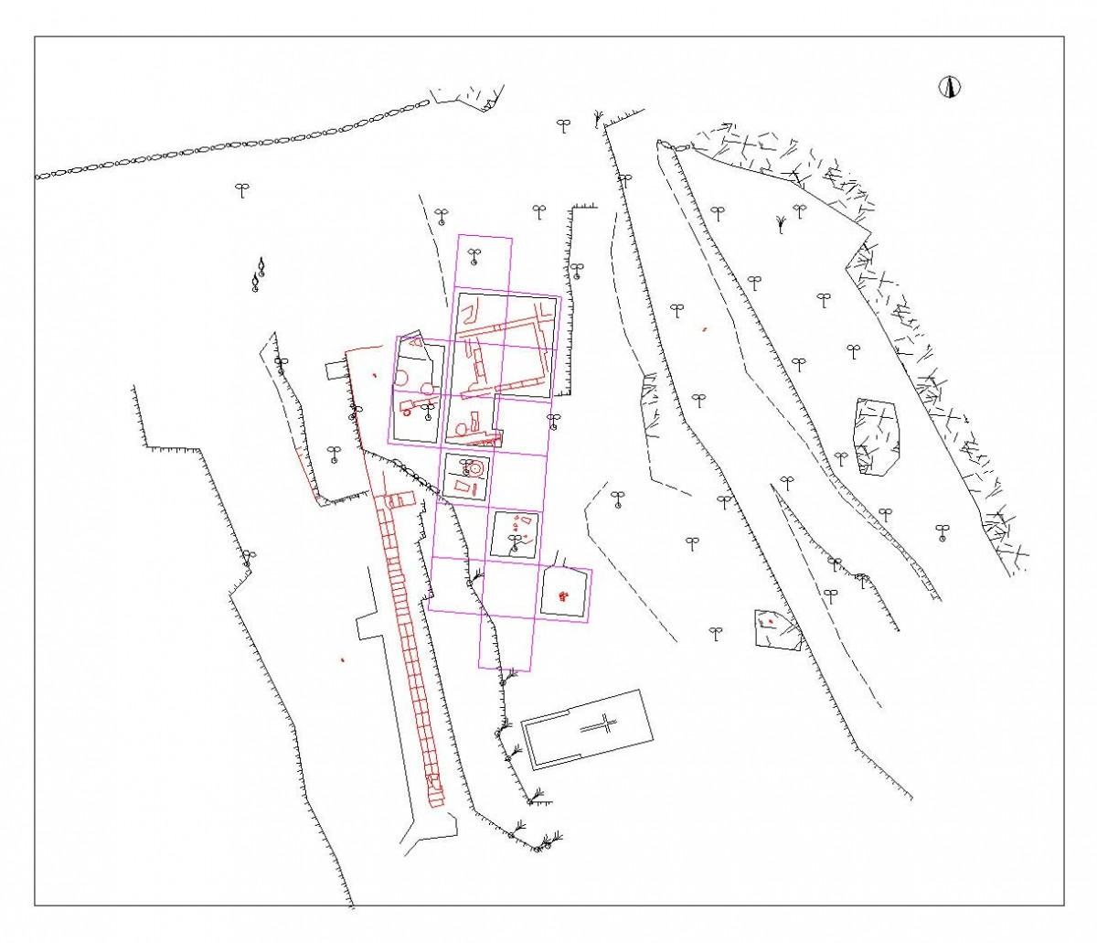 Εικ. 9. Τοπογραφική αποτύπωση του ανδήρου με τη διάταξη των κτιρίων.