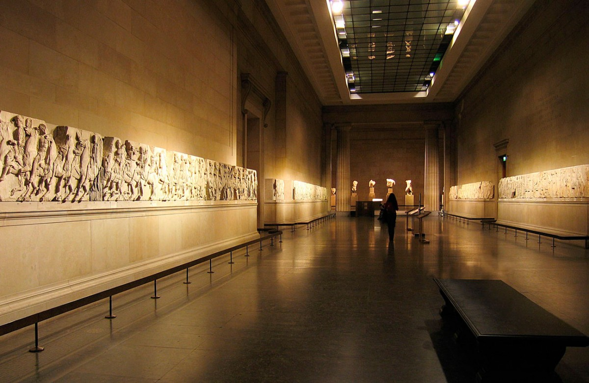 Άποψη της αίθουσας του Βρετανικού Μουσείου στην οποία βρίσκονται τα Γλυπτά του Παρθενώνα.