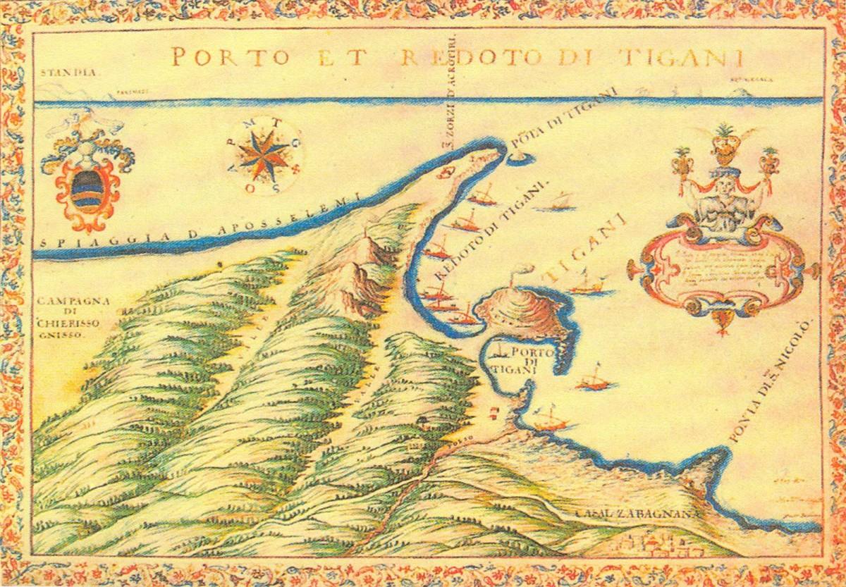 Εικ. 1. Χαρακτικό της παραλίας Χερσονήσου από τον Basilicata (Basilicata 1994, πίν. ΧΧΧVII).