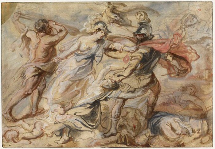 «Η Αθηνά και ο Ηρακλής αποκρούουν τον Άρη», έργο του Ρούμπενς από το τμήμα Γραφιστικών Τεχνών του Λούβρου.