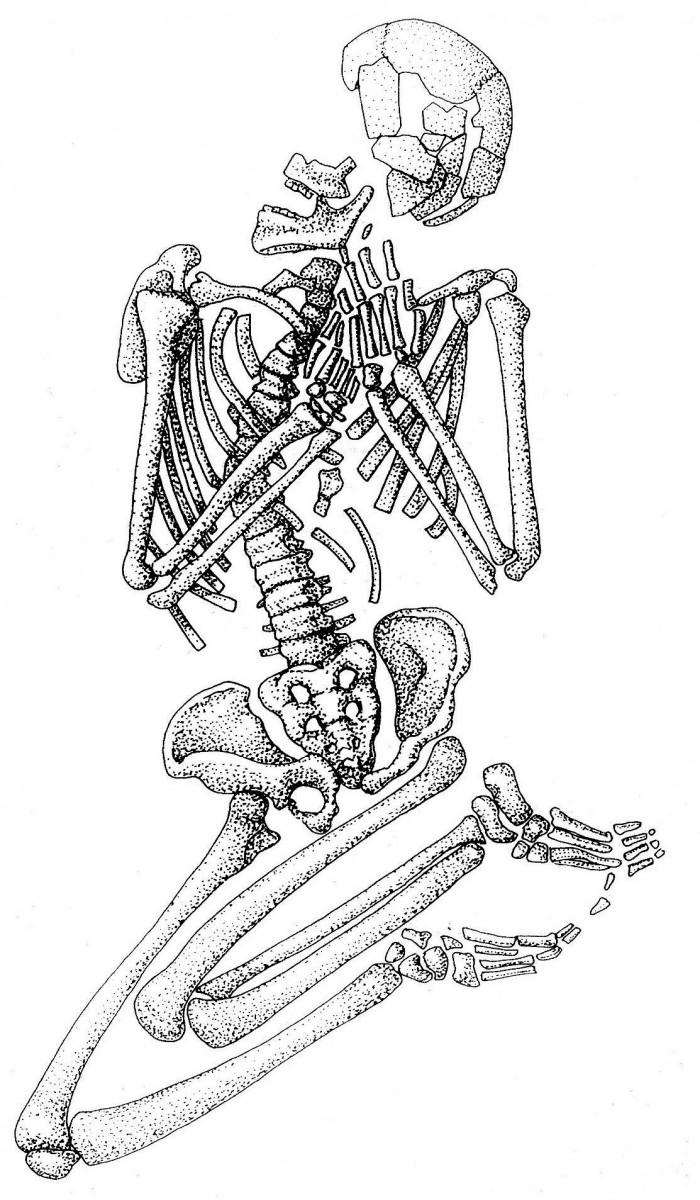 Εικ. 2. Πρωτογενής μεσολιθική ταφή από το σπήλαιο Φράγχθι Αργολίδος (σχεδίαση Cavanagh / Mee 1998, εικ. 2.2).