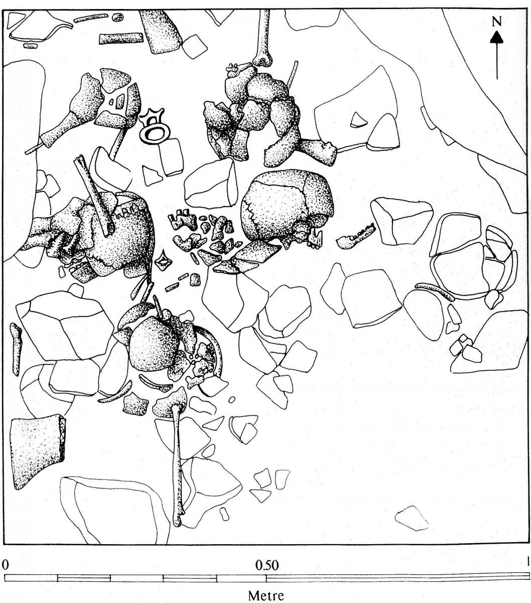 Εικ. 5. Ταφές από το σπήλαιο Αλεπότρυπα Λακωνίας (σχεδίαση Cavanagh / Mee 1998, εικ. 2.11).