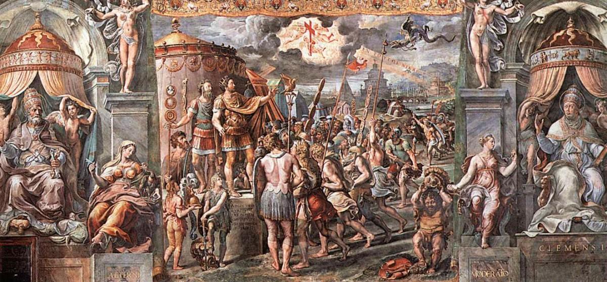 Εικ. 2. Το όραμα του Μεγάλου Κωνσταντίνου. Λεπτομέρεια από τοιχογραφία του Ραφαήλ στο Βατικανό.