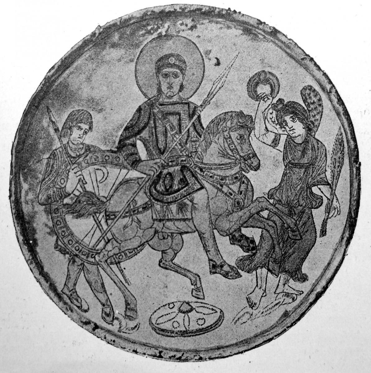 Εικ. 5. Αργυρός δίσκος με τον γιο του Κωνσταντίνου, Κωνστάντιο Β', έφιππο με στρατιωτική περιβολή, συνοδευόμενο από φρουρό με ασπίδα που φέρει το χριστόγραμμα.