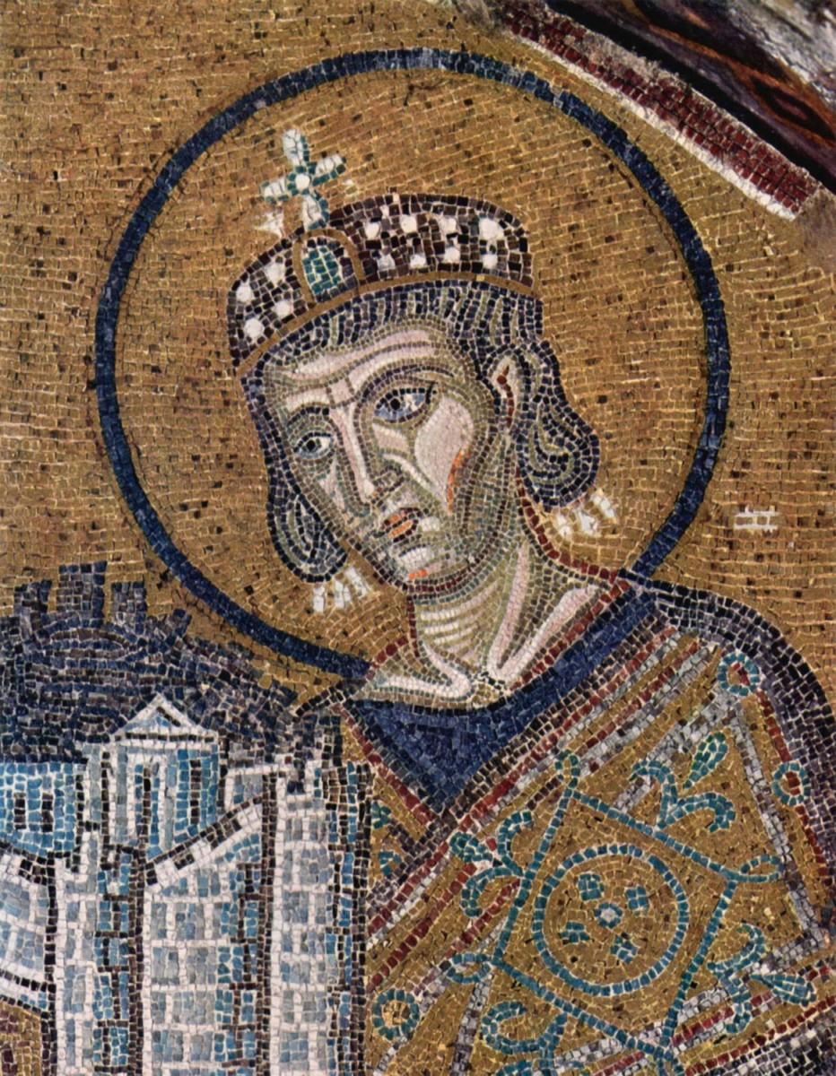 Εικ. 6. Ο Κωνσταντίνος προσφέρει στον Χριστό τη νέα πρωτεύουσα, την Κωνσταντινούπολη. Ψηφιδωτό, π. 1000. Αγία Σοφία, Κωνσταντινούπολη.