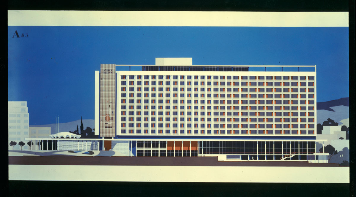 Hilton Athens.,1958-63. Έργο του Εμμανουήλ Βουρέκα. Συνεργάτες αρχιτέκτονες: Π. Βασιλειάδης, Σπ. Στάικος, Α. Γεωργιάδης.