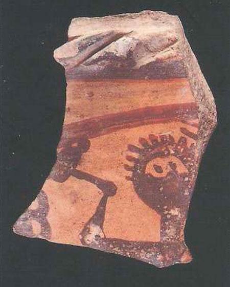 Θραύσμα κεραμικής από ανασκαφή στη Θήβα.