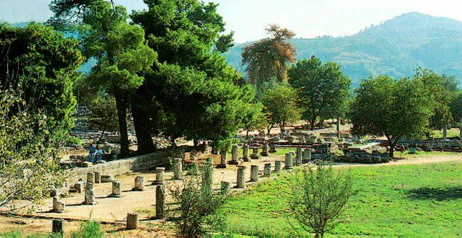 Ανατολική άποψη του αρχαίου Γυμνασίου Ολυμπίας.