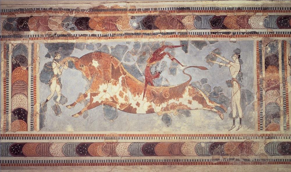 Η τοιχογραφία των ταυροκαθαψίων. Αρχαιολογικό Μουσείο Ηρακλείου.