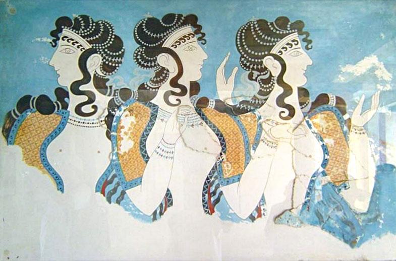 Ιέρειες που χορεύουν. Τοιχογραφία από την Κνωσό. Αρχαιολογικό Μουσείο Ηρακλείου.