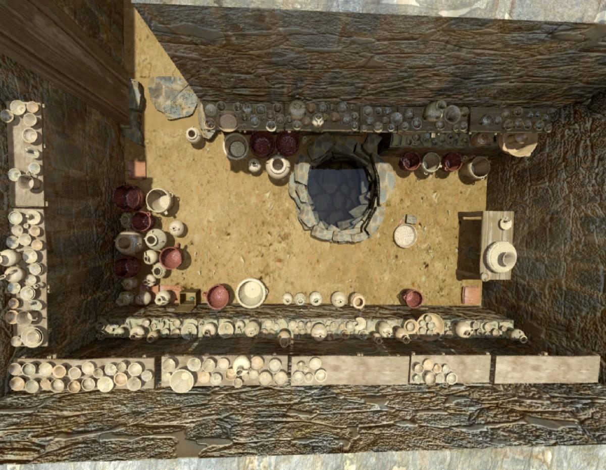 Εικ. 8. Αναπαράσταση του κεραμεικού εργαστηρίου, στον Χώρο 13.