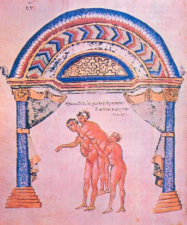 Εικ. 10. Aνάταξη εξαρθρώματος. 10ος αι. Μικρογραφία κώδικα του  Απολλωνίου Κιτίου «Περί ἄρθρων».