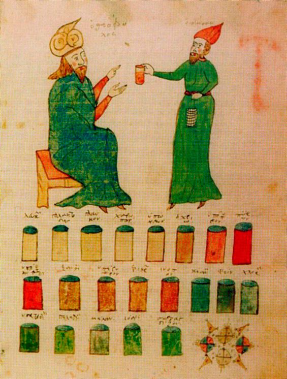 Εικ. 8. Ο ιατρός Θεόφιλος Πρωτοσπαθάριος με τον βοηθό του. 15ος αι. Μικρογραφία σε κώδικα του Θεοφίλου Πρωτοσπαθαρίου.