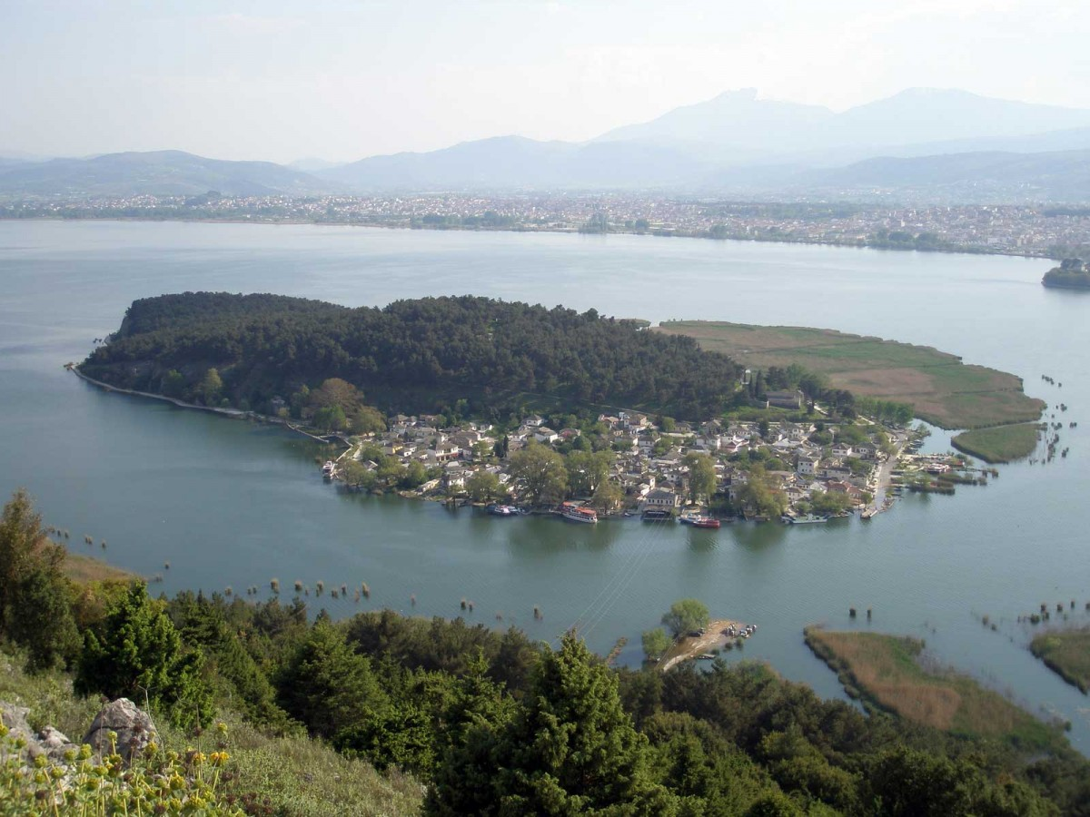 Εικ. 1. Η λίμνη Παμβώτιδα με το νησί της σε πρώτο πλάνο, η πόλη των Ιωαννίνων σε δεύτερο πλάνο και το όρος Ολύτσικα-Τόμαρος στο βάθος. Άποψη από πλαγιά του όρους Μιτσικέλι. (Πηγή: αρχείο συγγραφέα)