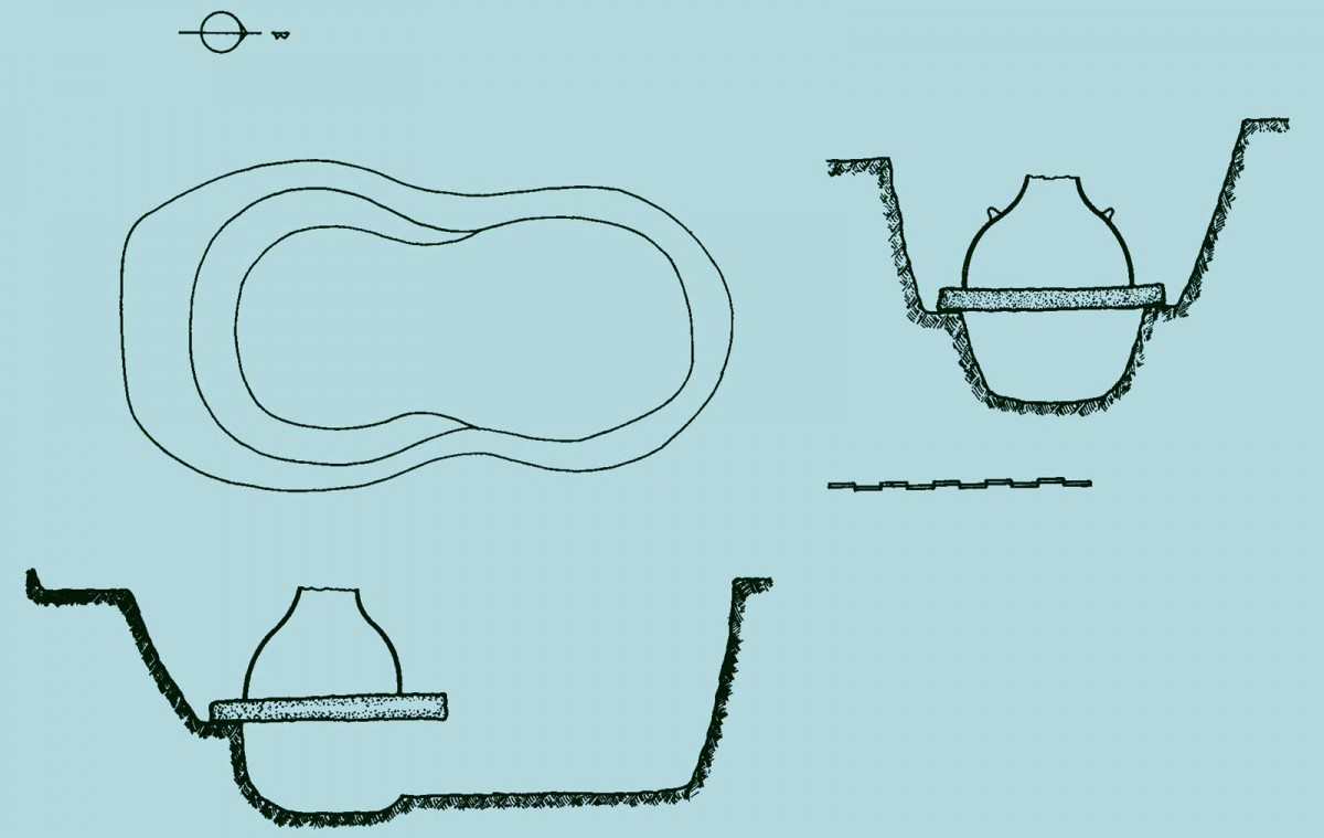 Εικ. 6. Κάτοψη-τομές προϊστορικού ή πρωτοϊστορικού κλιβάνου-φούρνου από την αρχαία Δωδώνη, ο οποίος είναι σκαμμένος στο έδαφος και φέρει ως κάλυμμα ανώτερο τμήμα πιθοειδούς αγγείου. (Πηγή: αρχείο Δάκαρη)