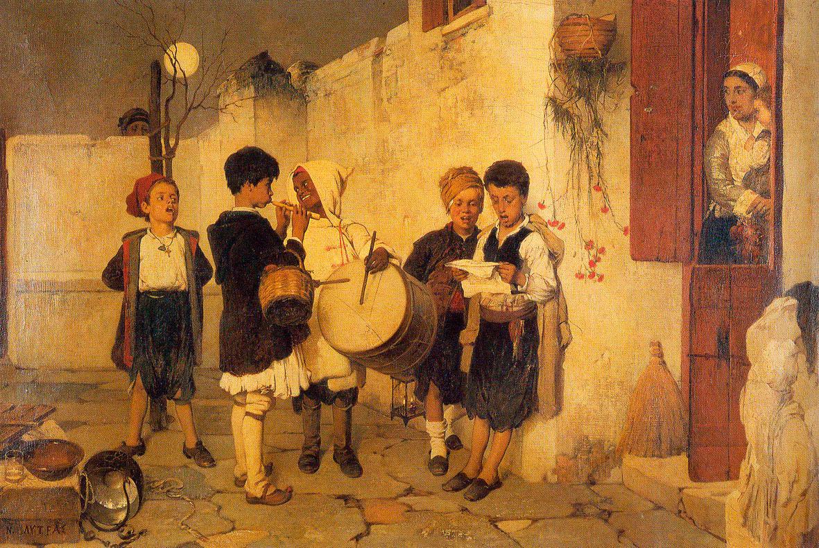 «Κάλαντα», πίνακας του Νικηφόρου Λύτρα, 1872. Ιδιωτική συλλογή.