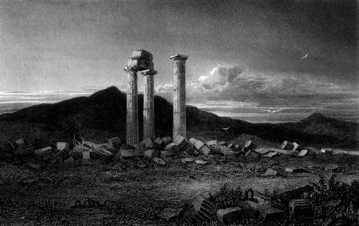 Ο ναός του Διός στη Νεμέα, το 1829. Χαρακτικό από το βιβλίο του W.H. Williams «Select Views In Greece With Classical Illustrations».