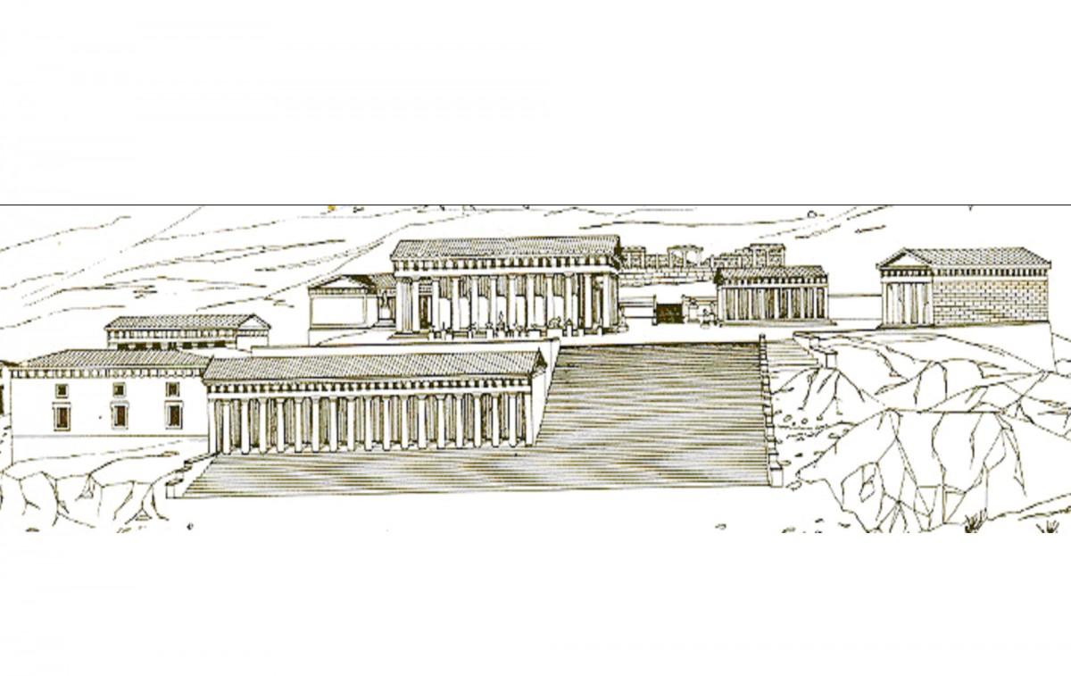 Εικ. 2. Γραφική αναπαράσταση Ηραίου, νότια όψη (Παπαχατζής 1976).